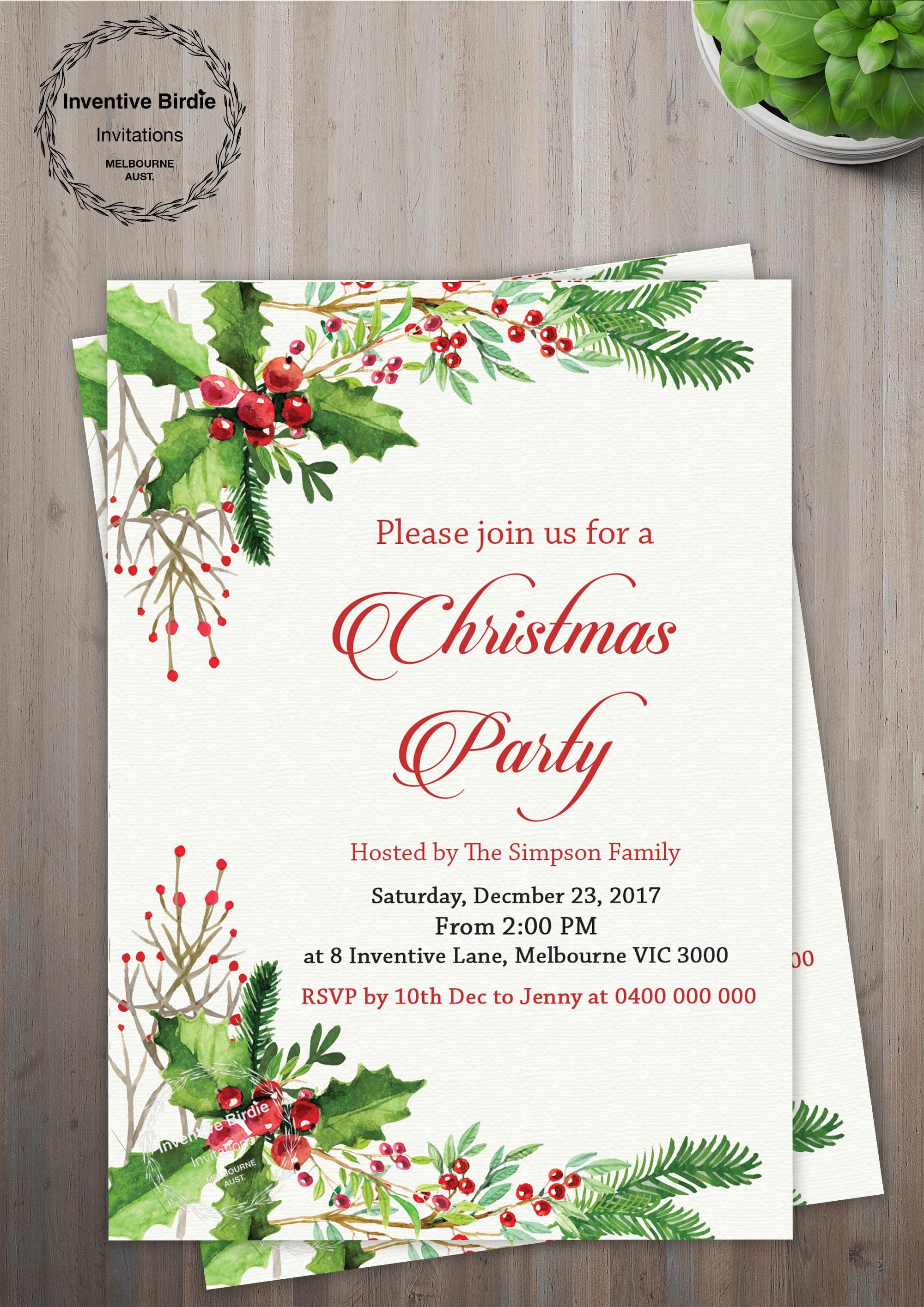 CHRISTMAS PARTY INVITATION Festive Holiday Party Invitation