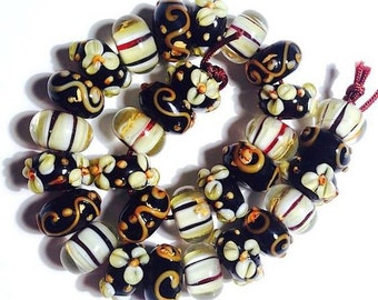15 pieces Rondelle Lampwork Glass Beads, 13mm, 3 patterns