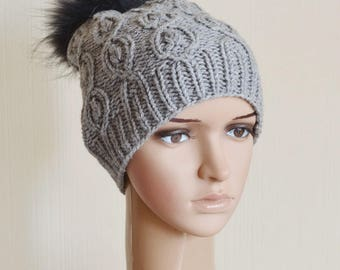 fur pom pom hat knitted hat beanie gray hat winter hats slouchy hat wife gift for wife slouchy beanie womens hats birthday gift for women