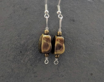 Handmade earrings bronze colour beads, silver plated hooks