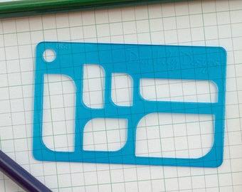 Rectangle Leaf, Planner Stencil, Bullet Journal Stencil - 068 (Credit Card Size Stencil)