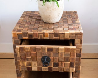 Rustic nightstand made of reclaimed wood