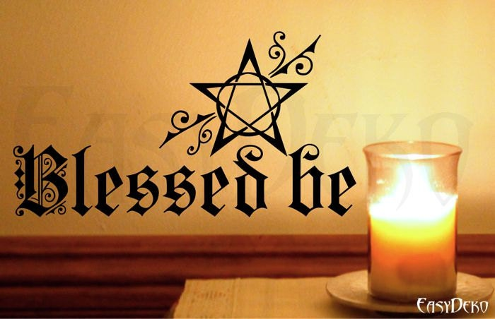 Wall Decal Pentagram Wicca Blessed be Pagan Wall Art Sticker