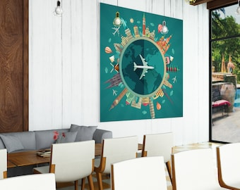 Travel Map Wall Art Poster Print - Traveling Around the World Room Art Decor - Gifts for Travelers - Home Dark Printable Digital Painting