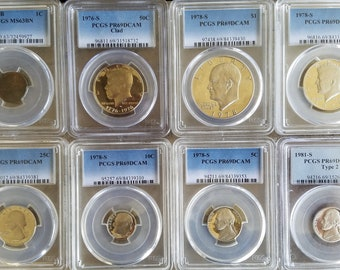 1909 VDB PCGS Graded MS63BN Lincoln Penny Plus 7 More Graded Coins, BU and Circulated Coins for a total of 75 Coins