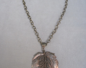 Confident n Bold Antique Copper And Silver Maple and Hemlock Leaf Pendant