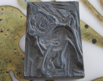 Dog Antique Letterpress Linocut Printing Block