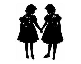 Tweedledee and Tweedledum Alice In Wonderland Silhouette Print Black and White Nursery Decor