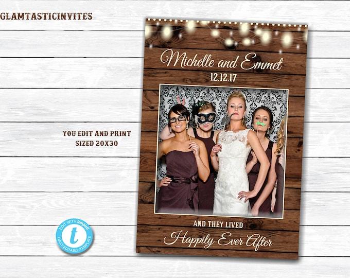 Rustic Photo Booth Frame, You Print, Printable Photo Booth Frame, Rustic Wedding, Rustic Decor, Shower Photo Frame, Photo Booth Frame, DIY