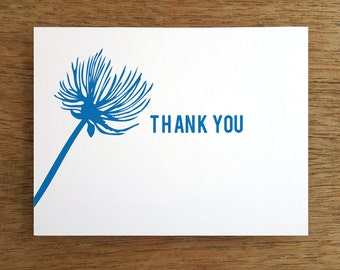Printable Thank You Card - Instant Download Thank You Note - Print & Fold Thank You - DIY Thank You Note - Easy Thank You Card - Blue Flower