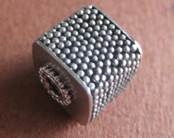 MS 13mm Granulated Cube Focal Bead Bali Sterling Silver Fair Trade