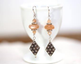 Drop Sterling and moonstone earrings