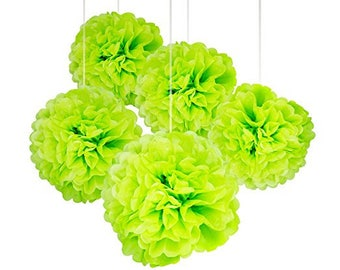 "A Set of 15 Pcs of 14"", 12"" and 10"" Tissue Paper Pom Poms Flower Balls For Birthday Wedding Baby Shower Party Decorations (GREEN)"