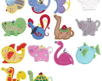 Animal Teapots Applique - 14 Different Applique Machine Embroidery Designs 4x4 5x7 6x10