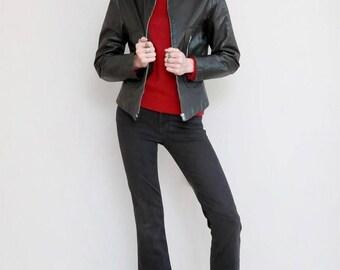 Vintage 1980's Premium Black Leather Lace Ruffled Jacket