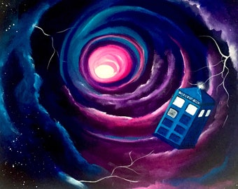 Tardis in the Time Vortex - Doctor Who Inspired Original Acrylic Painting