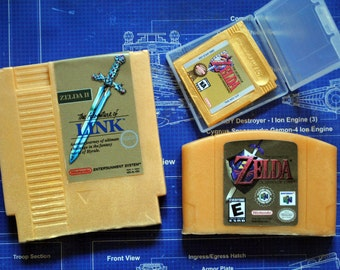 Ultimate Zelda Parody Soap Pack - NES Cart Soap, N64 Cart Soap, Gameboy Cart Soap - Zelda Cart Soap - Retro and geeky! nerdy, retro gamer
