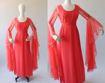 Vintage 1970s Chiffon Dress with Angel Sleeves
