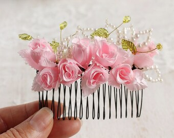 Rose Buds Hair Comb, Pink Bridal Comb, Floral Hair Accessory, Boho, Rose Hair Comb, Woodland Head Piece, Wedding Hair Comb, Pink Flower Comb