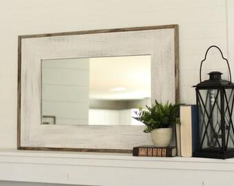 Whitewashed Barnwood Mirror - Glacier White Mirror