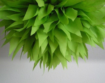 GREENERY tissue paper pom / woodland forest green wedding decorations / chartreuse / baby boy shower decor / first birthday party poms