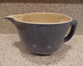 Vintage blue speckled Stoneware Batter Bowl with Handle