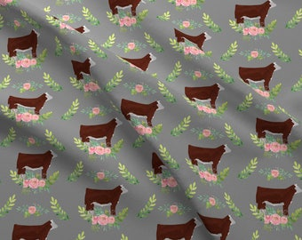 Hereford Cow Fabric - Showstock Roses Hereford Steers By Thecraftyblackbird - Watercolor Cow Cotton Fabric By The Yard With Spoonflower
