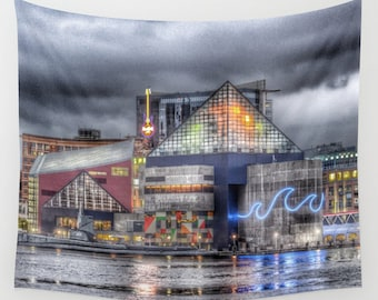 Baltimore Tapestry, HDR Downtown Tapestry, Landscape Wall Tapestry,City Photography, Urban, Inner Harbor, Waterfront, Maryland, Dorm, Office