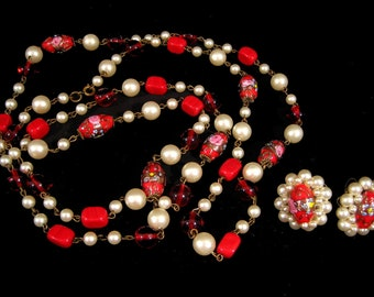 Vintage VENETIAN GLASS NECKLACE & EaRRINGS Wedding Cake Red Filigree Antique