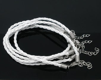 "20 WHITE Faux Leather Bracelet Braided Cords with Lobster Clasp . 8"" long plus 2"" extender chain fch0022"