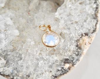 Moonstone Pendant, 5 mm Round Moonstone, Blue Moonstone, Blue Moon, 14 karat Gold, Birthstone Necklace, June Birthstone,