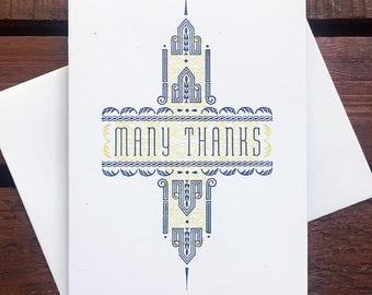 Many Thanks letterpress card