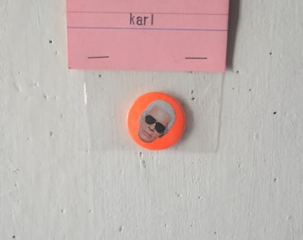 Karl Lagerfeld fluorescent button badge