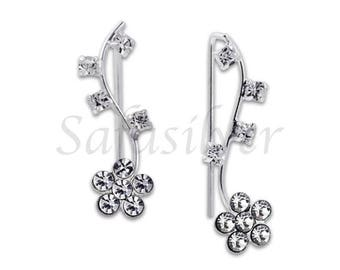 Flower Ear Lines,Crystal Stone Ear lines,Ear Climber,Sterling Silver Ear Sweeper
