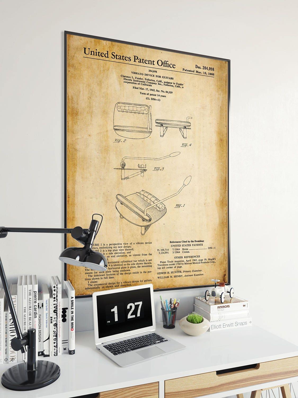 Guitar Vibrato Patent Print Guitar Poster Guitar Player
