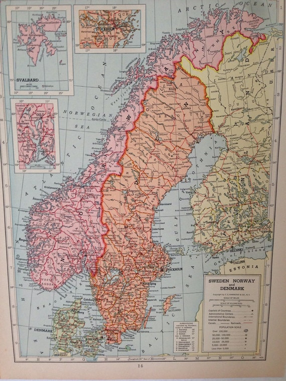 Vintage 1946 hammonds atlas map page central europe 1939 map on vintage 1946 hammonds atlas map page central europe 1939 map on one side and sweden norway and denmark map on the other side from greenbasics on etsy gumiabroncs Choice Image