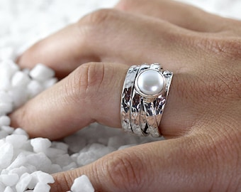 Birthstone Ring June Birthstone Ring Gemstone Ring Mothers Ring White Pearl Ring Hand Stamped Engraved Ring Hammered Ring Engagement Ring