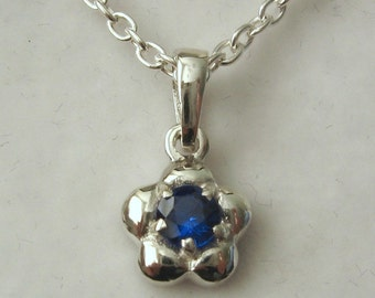 Genuine SOLID 925 Sterling Silver September Birthstone Daisy Sapphire Pendant