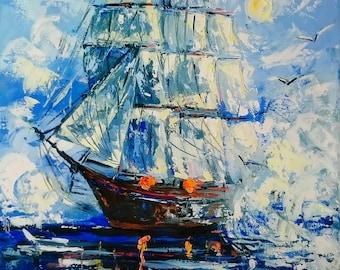 Alone sailing ship
