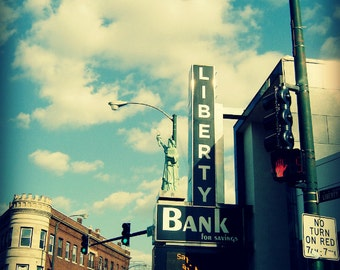 Chicago Photo, Logan Square, Chicago Photography, Chicago Art, Chicago Sign, Statue of Liberty, bank, travel, Chicago Architecture, wall art