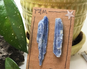 Blue Kyanite Crystal Drop Stud Earrings - Long and Lovely - Sterling Silver Posts - Rough, Raw Stone - Natural Mineral Beauty
