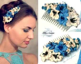 gladiolus jewellery, flower comb, wedding stuff, bride comb,    gladiolus hair, bridesmaids hair, blue headband, ivory gladiolus, blue