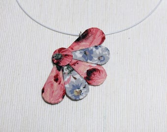 Pendant demi-fleur fabric pink and blue - gift idea