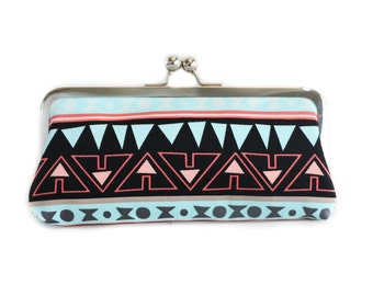 Mint and Coral Aztec Tribal Print Kisslock Clutch - Silver Frame Clutch