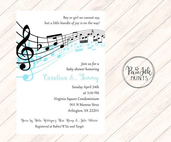 Music Notes Baby Shower Invitation Musical Baby Shower