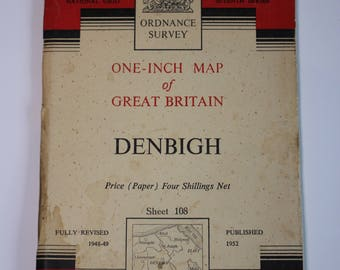 1952 National Grid Seventh Series Ordnance Survey Map DenbighSheet 108 Paper