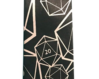 Dungeons and Dragons D20 Dice Tie, DnD Tie, Dress Tie, Black and white
