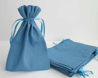 "Cotton Muslin Bags - Blue | Large Drawstring Muslin Pouches, Gift Bags, Favor Bags for Weddings (6""x9"")"