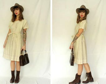 1960's Belted Dress Matching Hanger - 60's White and brown midi dress - Size S to L #1580