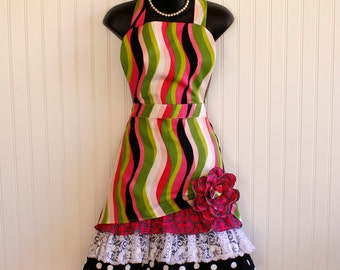 Womens Apron with Lace and Ruffles; Aprons with Pockets; Hot Pink and Black Apron; Full-length Apron; Petticoat Apron by Kozy Kitchens